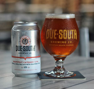 Can and glass of Due South Brewing Company Grapefruit Category 5 IPA